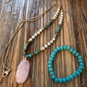 Beaded Necklace with Pink Stone